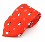 Red Frosty & Snowflakes Tie (Various Sizes Available for Men & Boys)