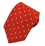 Red & White Urban Dotted Tie (Sizes Available for Men & Boys)