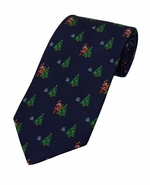 Santa & Christmas Tree Pattern Tie / Navy