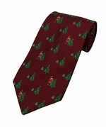 Santa & Christmas Tree Pattern Tie / Wine