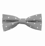 Silver & White Urban Dotted Bow Tie (Men's & Boy's Styles Available)