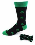 St Patricks Day Banded Bow Tie & Socks Set