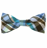 Turquoise & Blue Uptown Cotton Plaid Bow Ties