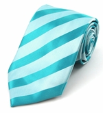 Turquoise Solid Color Tonal Stripe Ties (Various Sizes Available for Men & Boys)