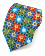 X-Long Hanukkah Holiday Squares Tie