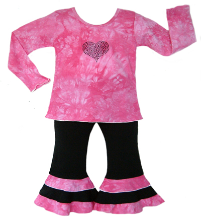 2pc Pink Tye Dye Baby Girls Crystal Heart Outfit - Click to enlarge