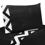 3 pc Twin Sheet Set for Black and White Chevron Bedding Collection