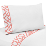 3 pc Twin Sheet Set for Coral and White Diamond Bedding Collection