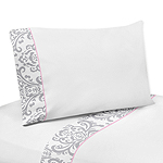 3 pc Twin Sheet Set for Pink, Gray and White Elizabeth Bedding Collection by Sweet Jojo Designs