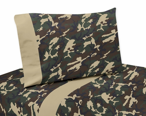 3 pc Twin Sheet Set for Green Camo Bedding Collection