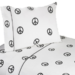 3 pc Twin Sheet Set for Groovy Peace Sign Bedding Collection