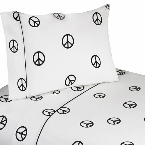3 pc Twin Sheet Set for Groovy Peace Sign Bedding Collection - Click to enlarge