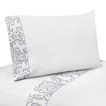 4 pc Queen Sheet Set for Lavender and Gray Elizabeth Bedding Collection by Sweet Jojo Designs