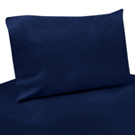 3 pc Twin Sheet Set for Navy Blue and Lime Green Stripe Bedding Collection - Solid Navy