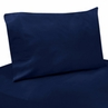 3 pc Twin Sheet Set for Navy Blue and Orange Stripe Bedding Collection - Solid Navy