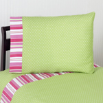 3 pc Twin Sheet Set for Olivia Pink and Green Bedding Collection