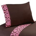 3 pc Twin Sheet Set for Pink and Brown Bella Bedding Collection