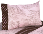 3 pc Twin Sheet Set for Pink and Brown Toile Bedding Collection