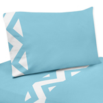 3 pc Twin Sheet Set for Turquoise and White Chevron Bedding Collection