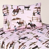 3 pc Twin Sheet Set for Western Cowgirl Bedding Collection - Cowgirl Horse Print