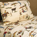 3 pc Twin Sheet Set for Wild West Cowboy Bedding Collection