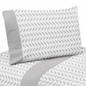 4 pc Grey and White Leaf Print Queen Sheet Set for Forest Deer and Dandelion Bedding Collection