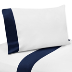 4 pc Navy and White Queen Sheet Set for Blue Whale Bedding Collection