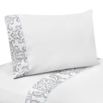 3 pc Twin Sheet Set for Blue and Gray Avery Bedding Collection