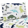 4 pc Queen Sheet Set for Blue and Green Mod Dinosaur Bedding Collection