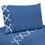 4 pc Queen Sheet Set for Blue and White Trellis Bedding Collection