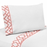 4 pc Queen Sheet Set for Coral and White Diamond Bedding Collection