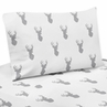4 pc Queen Sheet Set for Grey and White Woodland Deer Bedding Collection