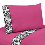 3 pc Twin Sheet Set for Hot Pink, Black and White Isabella Bedding Collection by Sweet Jojo Designs