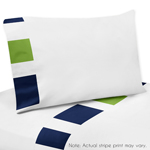 4 pc Queen Sheet Set for Navy Blue and Lime Green Stripe Bedding Collection