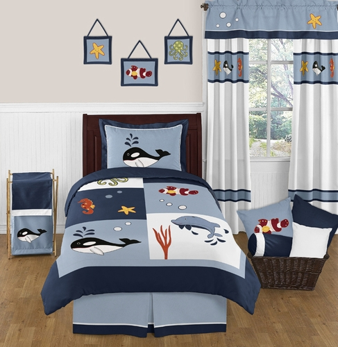 Ocean Blue Sea Life 4pc Twin Bedding Set by Sweet Jojo Designs - Click to enlarge