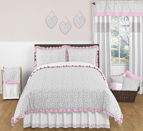 Pink and Gray Kenya Childrens and Kids Bedding - 3pc Full / Queen Set by Sweet Jojo Designs - Click to enlarge