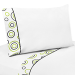 3 pc Twin Sheet Set for Spirodot Lime and Black Bedding Collection by Sweet Jojo Designs