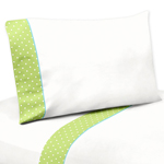 3 pc Twin Sheet Set for Turquoise and Lime Hooty Owl Bedding Collection by Sweet Jojo Designs