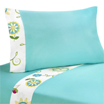 3 pc Twin Sheet Set for Turquoise and Lime Layla Bedding Collection