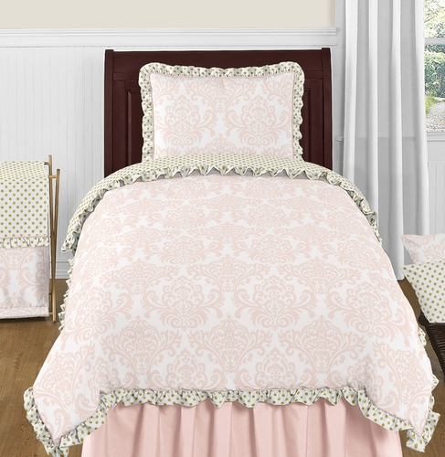 Blush Pink, Gold and White Amelia 4pc Twin Girls Bedding Set  by Sweet Jojo Designs - Click to enlarge