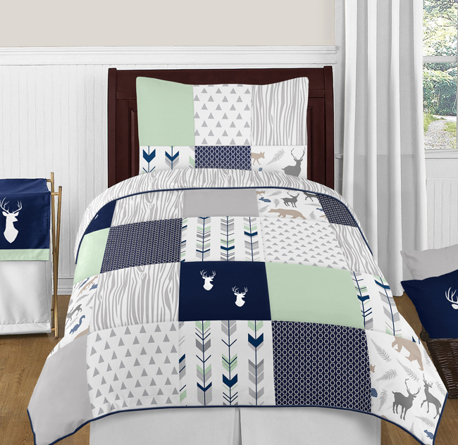 navy blue mint and grey woodsy deer 4pc twin boy bedding set by sweet jojo. Boy Bedding Sets Twin  Toddler Boy Bedding Sets Nice About Remodel