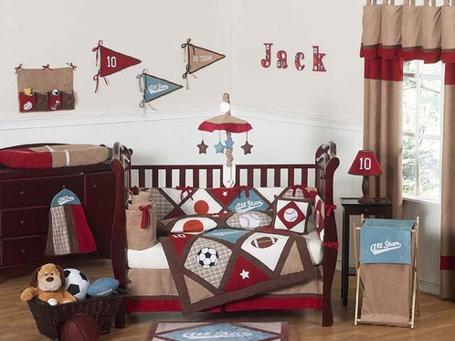 All Star Sports Baby Bedding - 9 pc Crib Set - Click to enlarge
