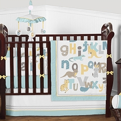 Alphabet Animals Baby Bedding - 9pc Boys Girls Unisex Crib Set by Sweet Jojo Designs