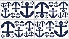 Anchors Away Nautical Baby and Kids Wall Decal Stickers - Set of 4 Sheets