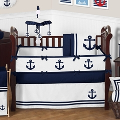 Anchors Away Nautical Baby Bedding - 9pc Crib Set by Sweet Jojo Designs