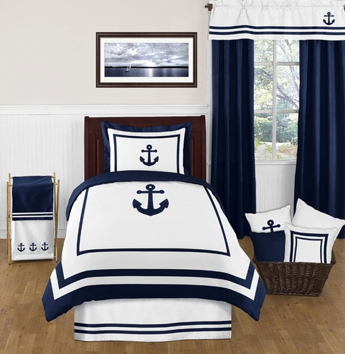 Nautical Bunk Beds: Anchors Away Nautical 4pc Twin Bedding Set Only $119.99