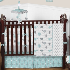 Aqua Blue & Gray Earth and Sky Baby Bedding - 9 pc Crib Set by Sweet Jojo Designs