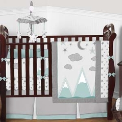 Aqua Grey and White Woodland Mountains Baby Bedding - 9pc Boys Crib Set by Sweet Jojo Designs