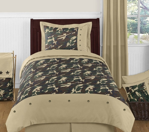 Army Green Camo Childrens Bedding - 4 pc Twin Set - Click to enlarge