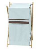 Baby and Kids Clothes Blue and Brown Hotel Laundry Hamper by Sweet Jojo Designs
